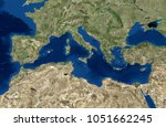 mediterranean sea map  3d... | Shutterstock . vector #1051662245