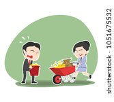asian business people pushing... | Shutterstock .eps vector #1051675532
