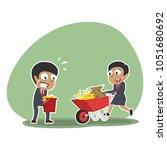 african business people pushing ... | Shutterstock .eps vector #1051680692