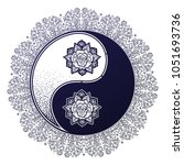 yin and yang tao ornate floral... | Shutterstock .eps vector #1051693736