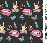 seamless pattern girl power and ... | Shutterstock .eps vector #1051705772