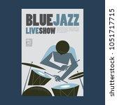 blue jazz poster | Shutterstock .eps vector #1051717715