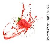 Strawberry In Splash  Isolated...