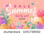 summer sale banner design with... | Shutterstock .eps vector #1051738502