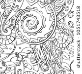 tracery seamless pattern.... | Shutterstock .eps vector #1051743518