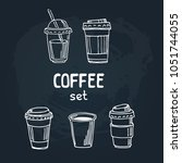 set of doodle hand drawn... | Shutterstock .eps vector #1051744055