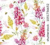watercolor tropical pattern... | Shutterstock . vector #1051756652
