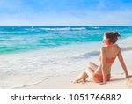 portrait of woman in bikini... | Shutterstock . vector #1051766882