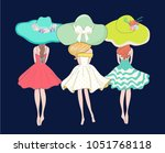 cute girls vector | Shutterstock .eps vector #1051768118