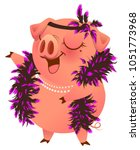 pink pig in boa necklet sings... | Shutterstock .eps vector #1051773968