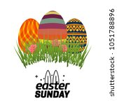 easter greetings card with... | Shutterstock .eps vector #1051788896