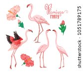 Set Of 4 Flamingo Birds And...