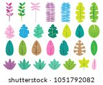 colorful leaves set  simple...   Shutterstock .eps vector #1051792082