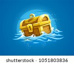 piratic trunk with treasures... | Shutterstock . vector #1051803836