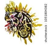 grunge parrot head splashes... | Shutterstock .eps vector #1051804382