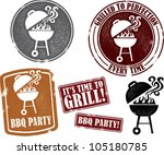 backyard bbq grilling party... | Shutterstock .eps vector #105180785