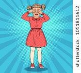 pop art unhappy little girl... | Shutterstock .eps vector #1051811612