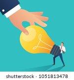business hand stealing idea... | Shutterstock .eps vector #1051813478