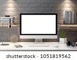 mockup poster in the interior ...   Shutterstock . vector #1051819562