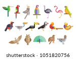 colorful set of different birds.... | Shutterstock .eps vector #1051820756