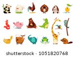 colorful flat vector set of... | Shutterstock .eps vector #1051820768
