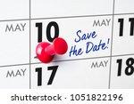 wall calendar with a red pin  ... | Shutterstock . vector #1051822196