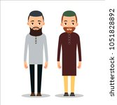muslim man or arab man. cartoon ... | Shutterstock . vector #1051828892