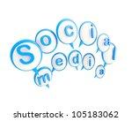 Social media icon shiny emblem isolated on white - stock photo