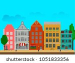 city street with tall buildings ... | Shutterstock .eps vector #1051833356