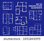 set of floor plans blueprints.... | Shutterstock .eps vector #1051843595