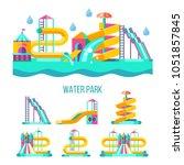 water park. water slides ... | Shutterstock .eps vector #1051857845