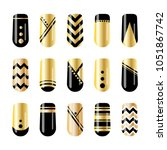 nail art. gold and black nail... | Shutterstock .eps vector #1051867742