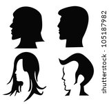 vector   4 silhouettes of heads. | Shutterstock .eps vector #105187982