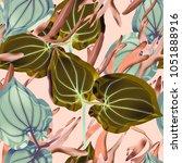seamless tropical flower  plant ... | Shutterstock . vector #1051888916