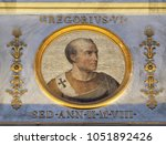 Small photo of ROME, ITALY - SEPTEMBER 05, 2016: image of Pope Gregory VI, was Pope from 1 May 1045 until his abdication at the Council of Sutri on 20 December 1046, basilica of Saint Paul Outside the Walls, Rome.