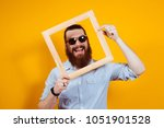 Smiling Bearded Hipster Man In...