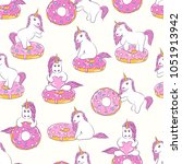 seamless pattern with cute baby ... | Shutterstock .eps vector #1051913942