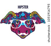 face of funny hipster pig with... | Shutterstock .eps vector #1051916795