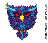 line art ornament owl  vector... | Shutterstock .eps vector #1051921628