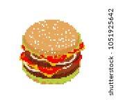 hamburger pixel art. pixelated... | Shutterstock . vector #1051925642