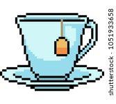 vector pixel art tea cup... | Shutterstock .eps vector #1051933658
