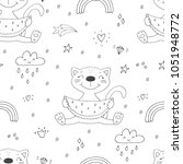 Stock vector cute cats colorful seamless pattern background 1051948772