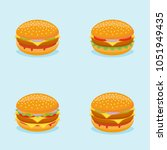 set of burgers isolated on blue ... | Shutterstock .eps vector #1051949435