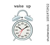 lazy tired day alarm. no way... | Shutterstock .eps vector #1051972922