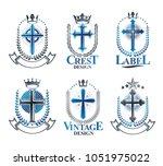 christian crosses emblems set.... | Shutterstock .eps vector #1051975022