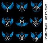 vintage weapon emblems set....   Shutterstock .eps vector #1051975025