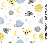 seamless pattern with space... | Shutterstock .eps vector #1051987052
