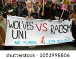 London, United Kingdom, 17th March 2018:- The Stand Up to Racism march through central London from the BBC to outside Downing Street - stock photo