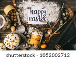 composition on easter theme | Shutterstock . vector #1052002712
