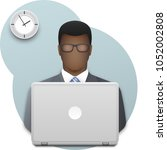 black business man with glasses ... | Shutterstock .eps vector #1052002808